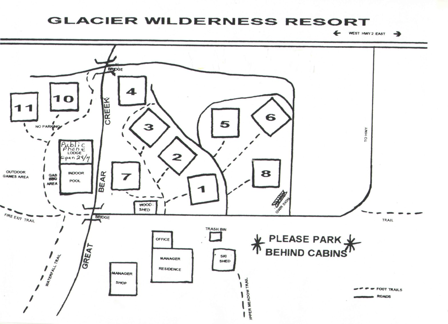 Glacier Wilderness Resort Map